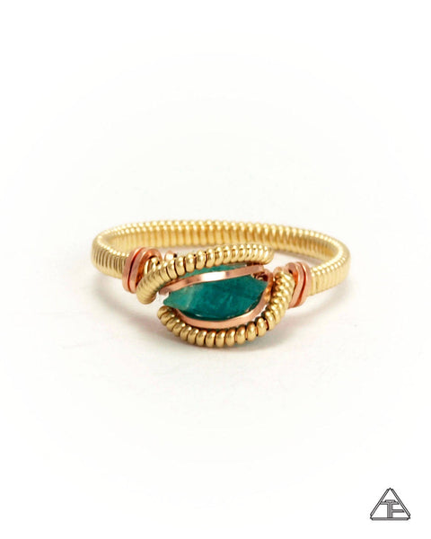 Size 6  - Emerald Yellow + Rose Gold Wire Wrapped Ring
