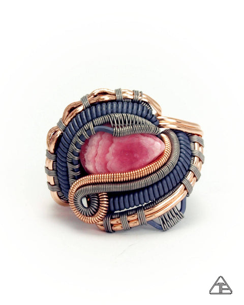Size 5.5  - Rhodochrosite + Garnet Stealth Series Wire Wrapped Ring
