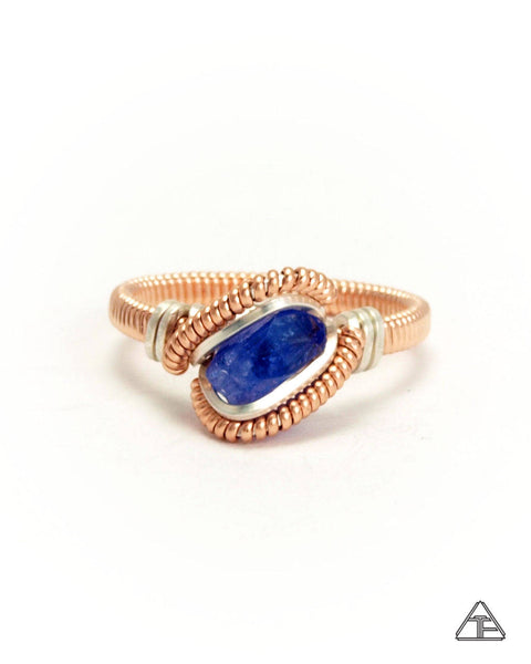 Size 6  - Tanzanite Rose Gold Wire Wrapped Tiny Ring
