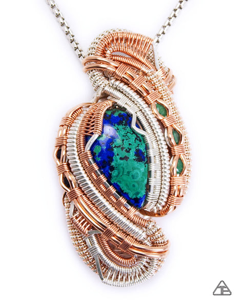Azure-Malachite + Emerald + Spinel Sterling Silver and Rose Gold Wire Wrapped Pendant