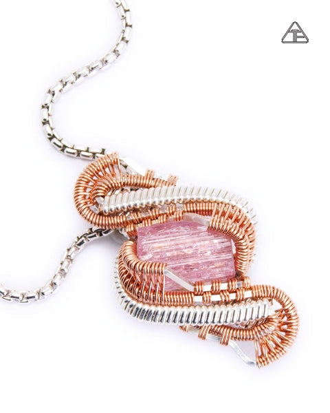 Imperial Topaz Sterling Silver and Rose Gold Wire Wrapped Tiny Pendant