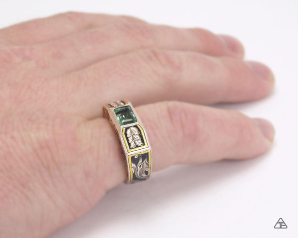 Sprout: Green Tourmaline - Lattice Series Engraved Ring Lux Edition