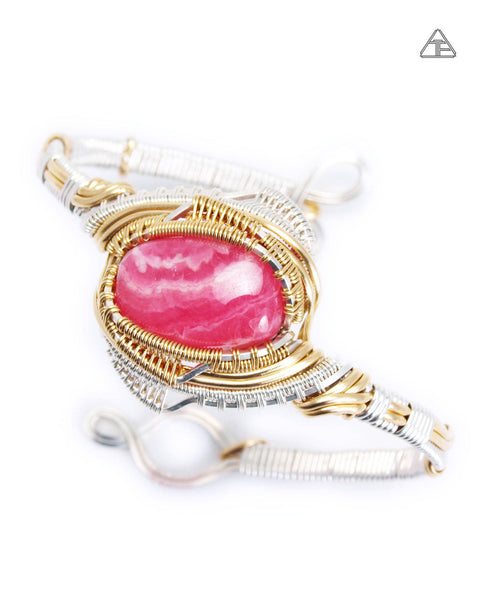 Rhodochrosite Sterling & Yellow Gold Wire Wrapped Bracelet