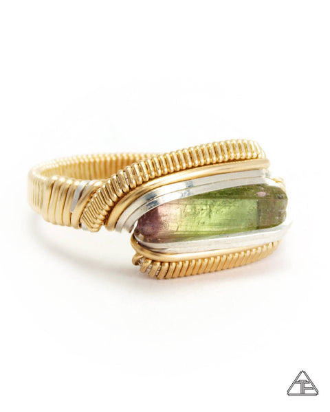 Size 11 - Bi-Color Tourmaline Yellow Gold + Sterling Wire Wrapped Ring
