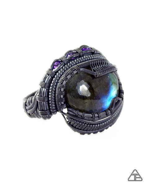 Size 12.5 - Labradorite and Amethyst Stealth Series Wire Wrapped Ring