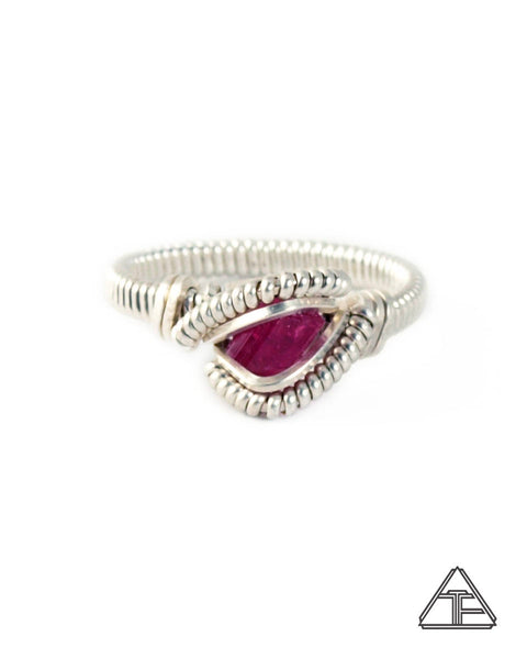 Size 5  - Pink Tourmaline Sterling Silver Wire Wrapped Ring