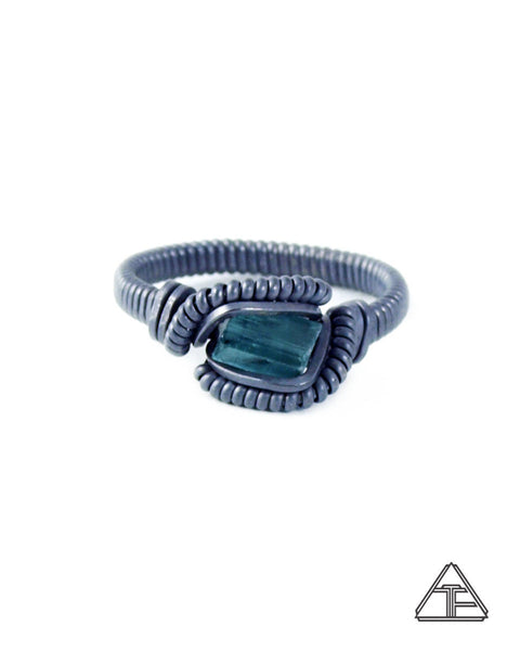 Size 4.5 - Blue Tourmaline Stealth Series Wire Wrapped Tiny Ring
