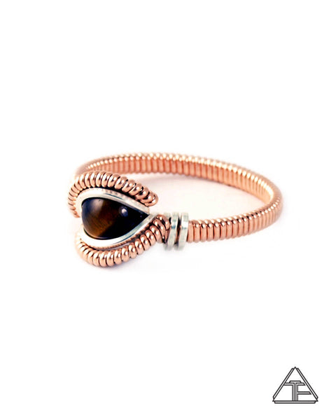 Size 8. - Tigers Eye Rose Gold & Silver Tiny Wire Wrapped Ring