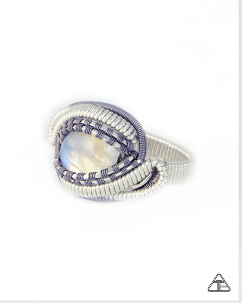 Size 8 - Moonstone Sterling Silver & Titanium Wire Wrapped Ring