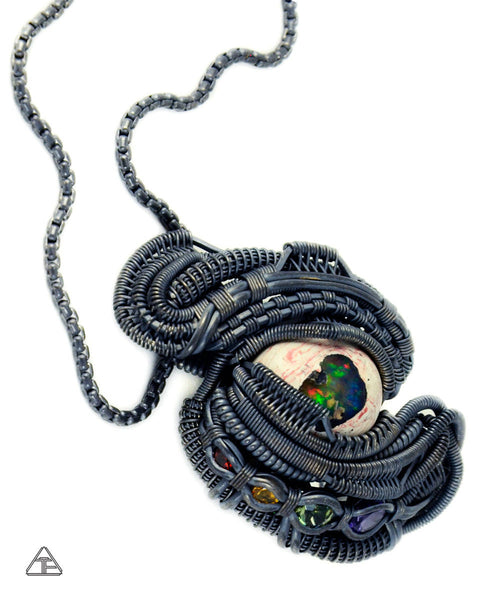 Stealth Series: Black Opal Wire Wrapped Pendant