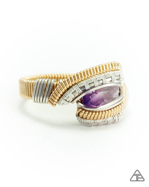 Size 7.5 - Amethysts Silver & Gold Wire Wrapped Ring