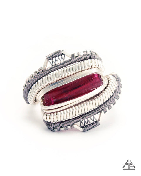 Size 9 - Rubellite Sterling Silver Wire Wrapped Tiny Ring