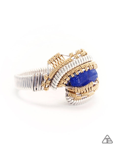 Size 8 - Tanzanite Silver & Gold Wire Wrapped Ring