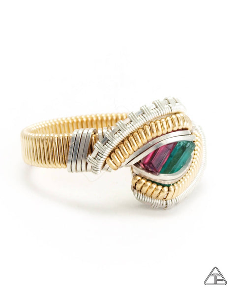 Size 8  - Emerald + Rubellite Yellow Gold + Sterling Wire Wrapped Ring