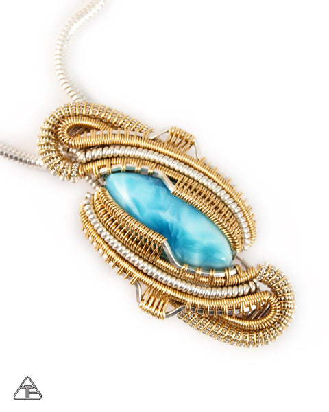 Larimar Sterling and Gold Wire Wrapped Pendant