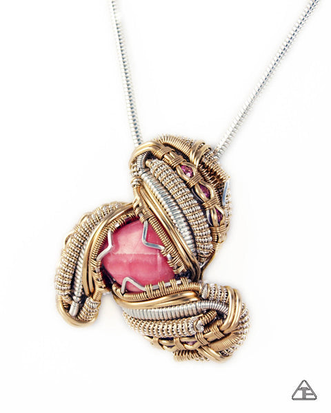 Rhodochrosite + Rhodolite Sterling Silver & Yellow Gold Wire Wrapped Pendant