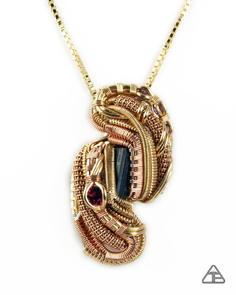 Tourmaline + Garnet + Rhodolite Yellow & Rose Gold Wire Wrapped Pendant