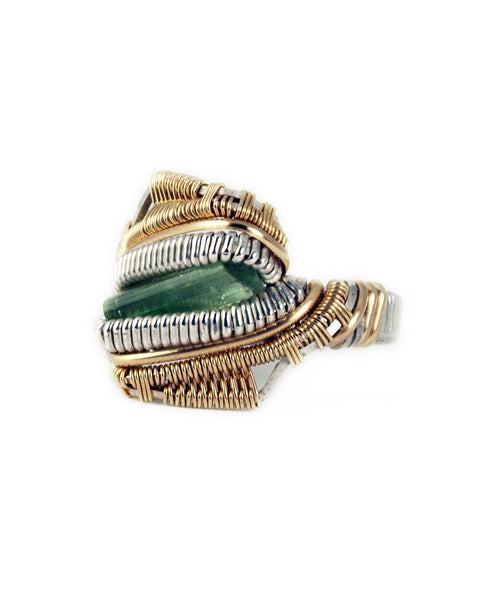 Size 6 - Green Tourmaline Silver & Yellow Gold Wire Wrapped Ring