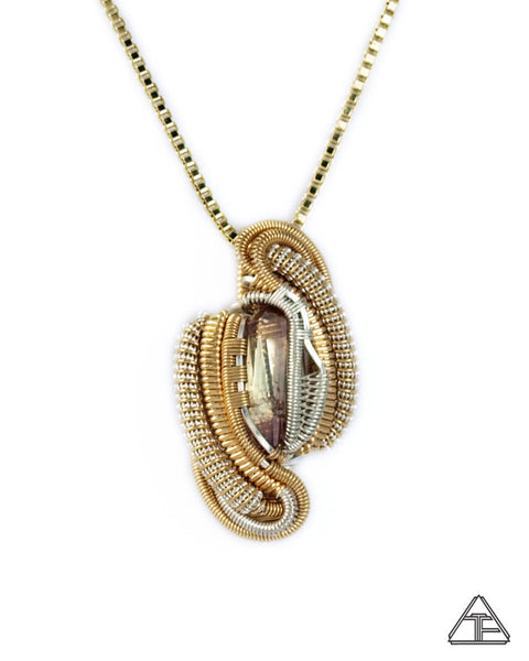 Coronel Murta Tourmaline Sterling Silver and Yellow Gold Wire Wrapped Pendant