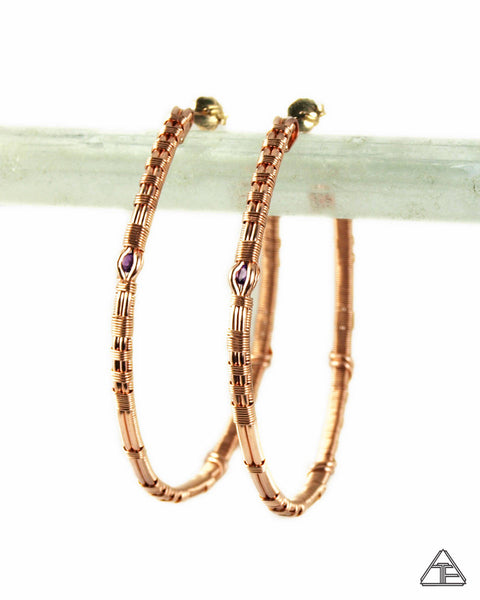 Amethyst Rose Gold & Silver Wire Wrap Hoop Earrings