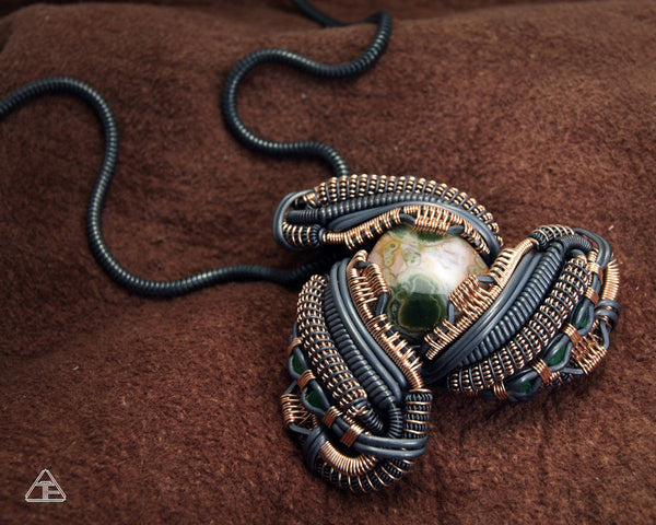 Ocean Jasper + Emerald Stealth Sterling Silver and Rose Gold Wire Wrapped Pendant