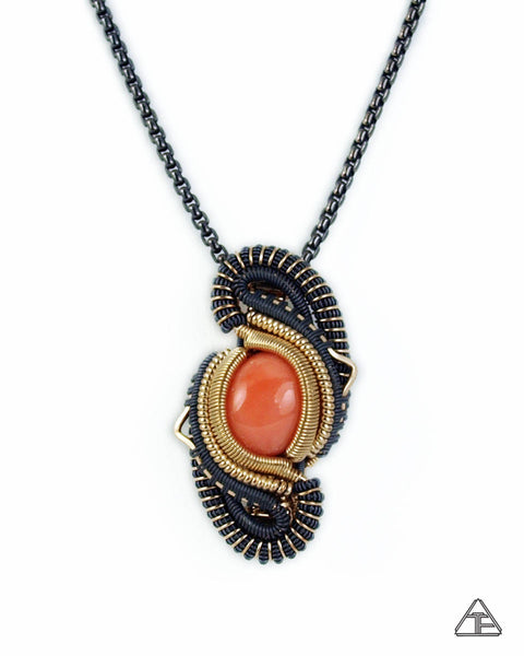 Coral, Yellow Gold & Silver Wire Wrapped Pendant