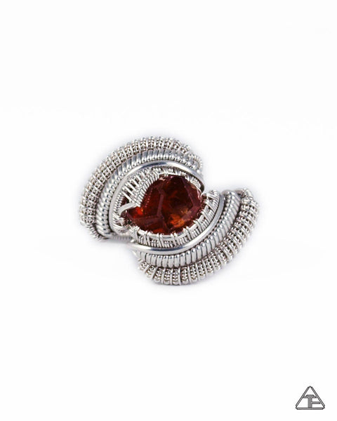 Size 8 - Vesper Peak Garnet Sterling Silver Wire Wrapped Ring