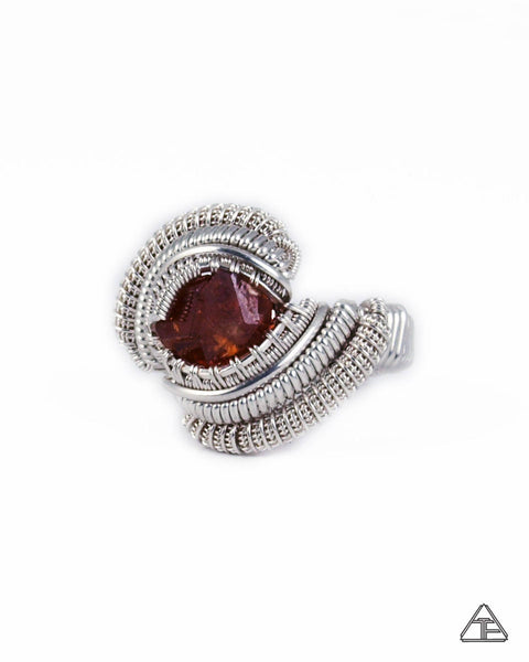 Size 8 - Vesper Peak Garnet, Sterling Silver Wire Wrapped Ring