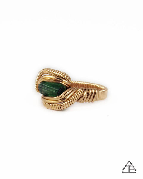 Size 7 - Tourmaline Yellow Gold Wire Wrapped Ring