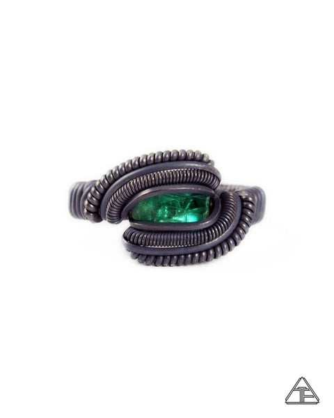Size 8 - Emerald Stealth Stirling Silver Wire Wrapped Ring