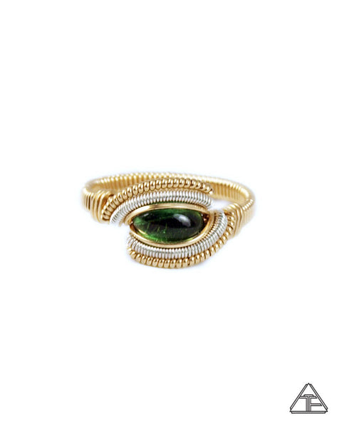 Size 8.5  - Tourmaline Yellow Gold & Sliver Wire Wrapped Ring