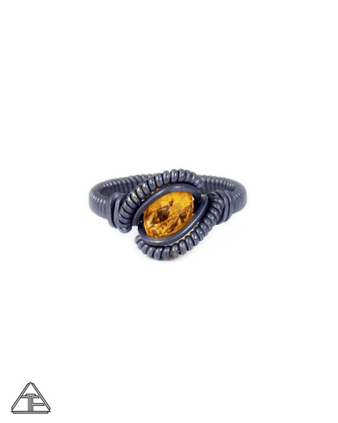 Size 4 - Citrine & Stealth Silver Wire Wrapped Tiny Ring