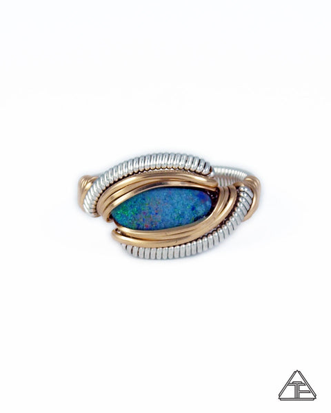 Size 7 - Opal Yellow Gold & Sterling Silver Wire Wrapped Ring