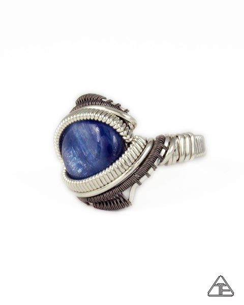 Size 6 - Kyanite Sterling Silver and Titanium Wire Wrapped Ring