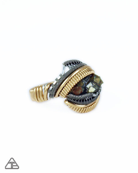 Size 4 - Rainbow Garnet Yellow Gold & Titanium Wire Wrapped Ring