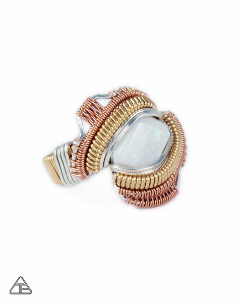 Size 7 - Australian Opal Yellow + Rose Gold + Sterling Silver Wire Wrapped Ring