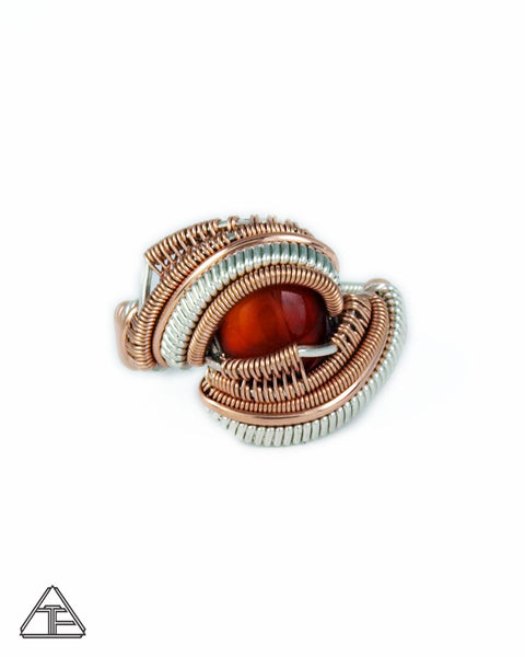 Size 7  - Amber Rose Gold & Silver Wire Wrapped Ring