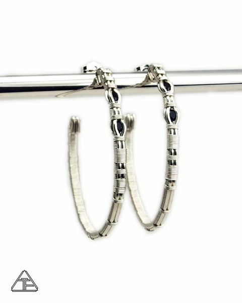 Black Spinel & Silver Wire Wrap Hoop Earrings