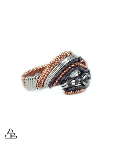 Size 9 - Moldavite & Herkimer Rose Gold and Titanium Three Sisters Wire Wrapped Ring