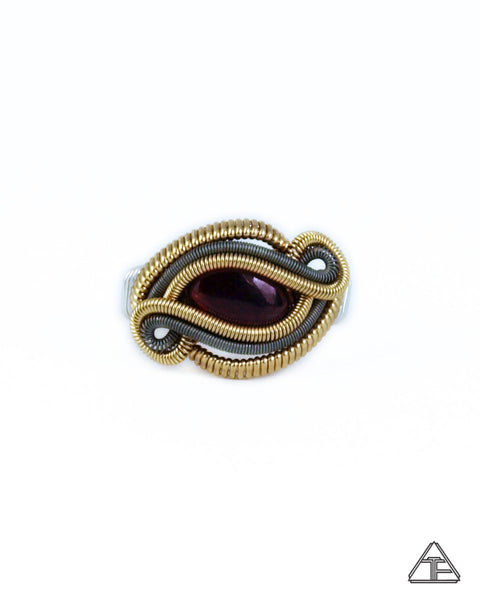 Size 7 - Garnet Yellow Gold & Titanium Wire Wrapped Ring