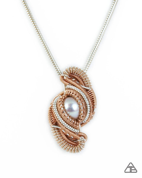 Pearl, Rose Gold & Silver Wire Wrapped Pendant