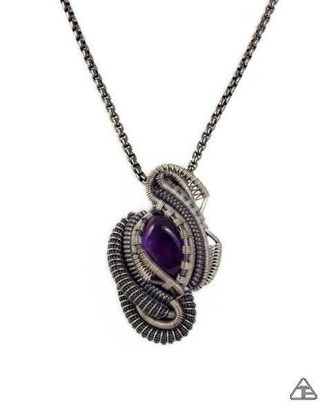 Amethyst, Sterling Silver & Titanium Wire Wrapped Pendant