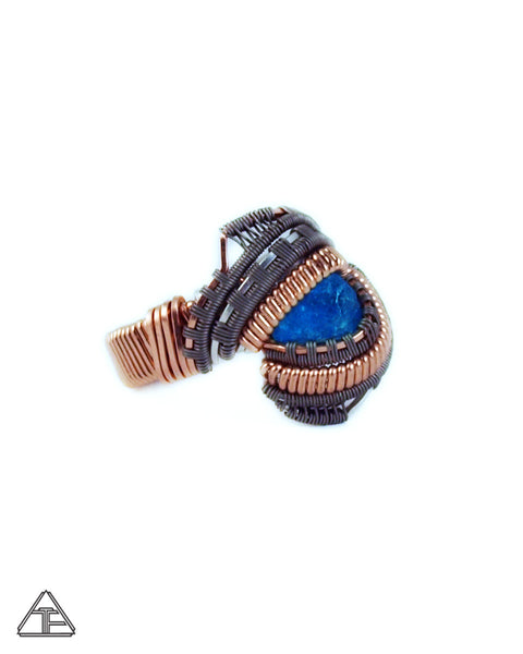 Size 6 - Neon Blue Apatite Rose Gold + Titanium + Silver Wire Wrapped Ring