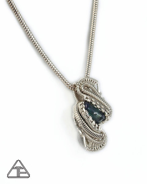 Silver Blue Green Tourmaline Wire Wrapped Pendant