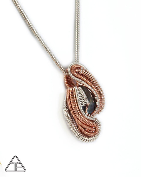 Labradorite Rose Gold & Silver Wire Wrapped Pendant