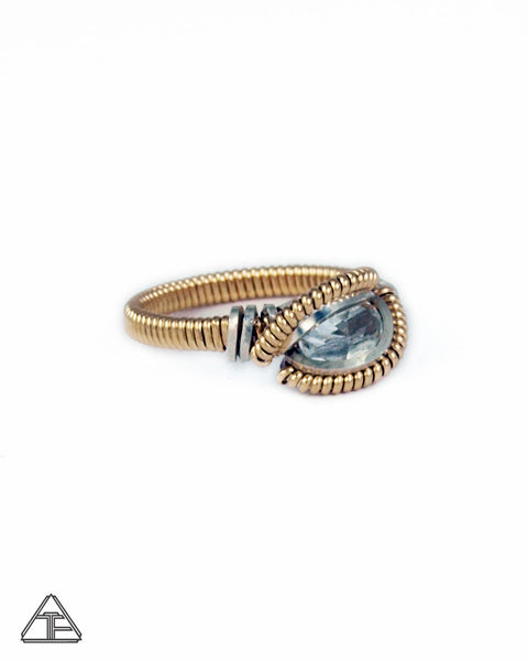Size 5.5 - White Topaz Yellow Gold & Silver Wire Wrapped Ring