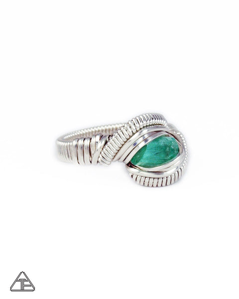 Size 6 - Emeraldl Sterling Silver Wire Wrapped Ring