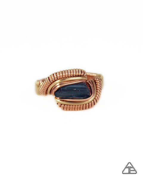 Size 5 - Tourmaline Yellow & Rose Gold Wire Wrapped Ring