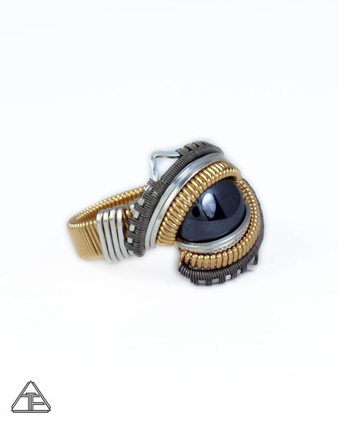 Size 7.5 - Pyrite Yellow Gold Silver and Titanium Wire Wrapped Ring