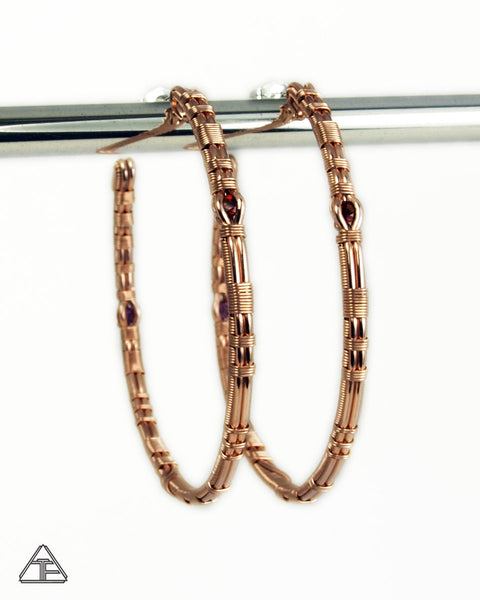 Garnet + Rhodolite Garnet Rose Gold & Silver Wire Wrap Hoop Earrings